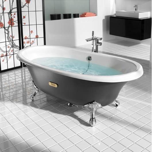 Roca baignoire fonte r tro newcast eagle grise achat vente baignoire kit balneo baignoire - Baignoire retro acrylique ...