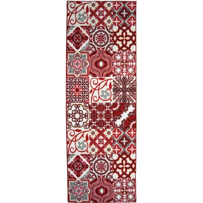 Matière : 100% polyamide - Dimensions : 80x150 cm - Densité : 1250gr/m² - Coloris : rouge et blancTAPIS - DESSOUS DE TAPIS