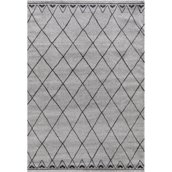 TOUAREG Tapis de salon style berbère - 120 x 170 cm - 100% polypropylène - Gris et noir