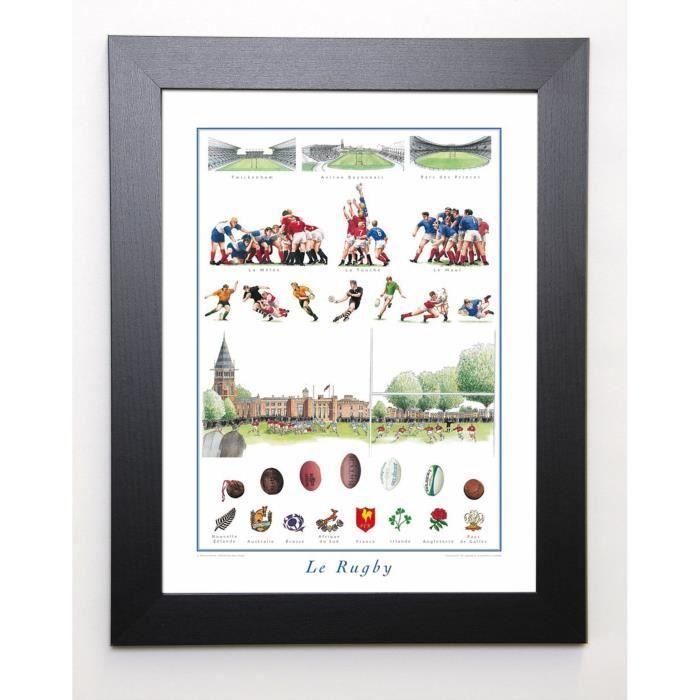 Sport collection image encadrée le rugby 37x47 cm multicolore