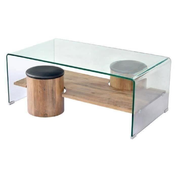 LEA Table basse contemporain décor chêne et plateau en verre trempé + 2 poufs simili PU noir - L 110 x l 60 cm