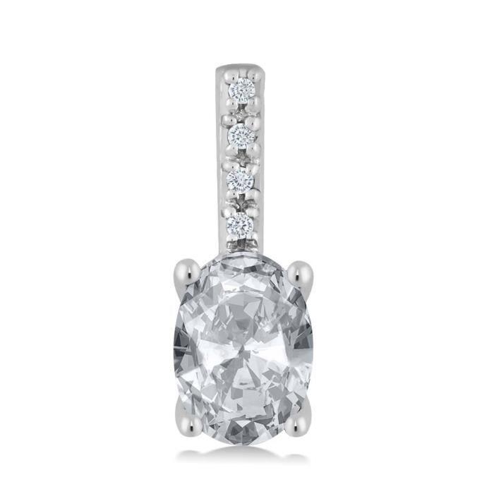 Pendentif En Or Blanc 14k - Topaze blanche ovale et Diamant avec chaine - 0.97 ct
