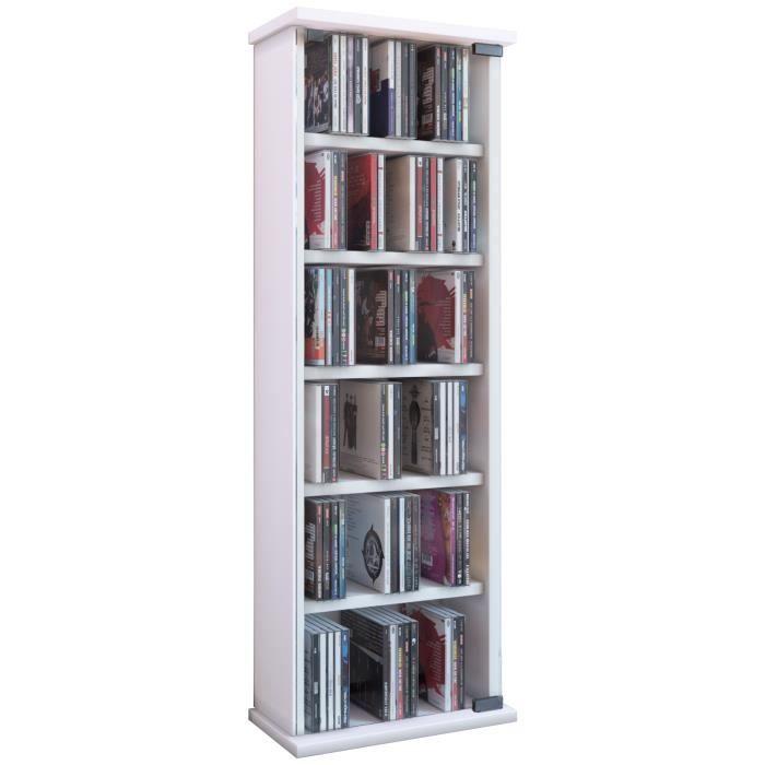 VETRO commode tour rangement bibliothèque CD-DVD 150 CD Blanc - Achat / Vente commode de chambre ...