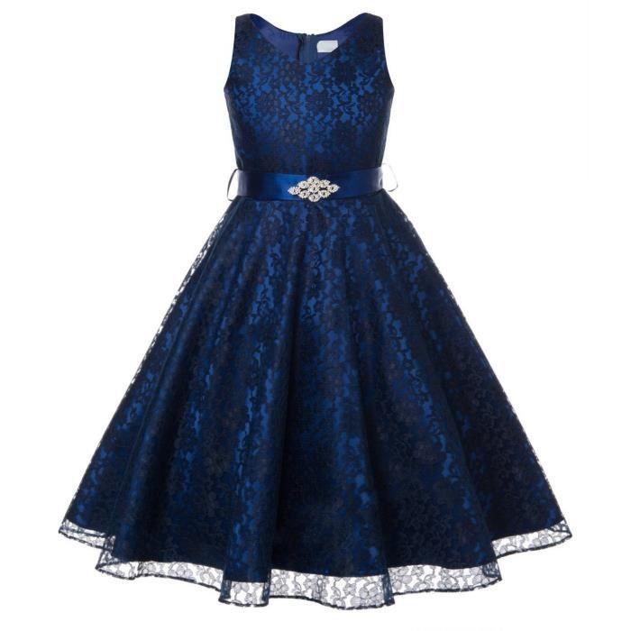 bleu marine robe de fille de fleur bapt me anniversaire f te dentelle mariage de demoiselle d. Black Bedroom Furniture Sets. Home Design Ideas