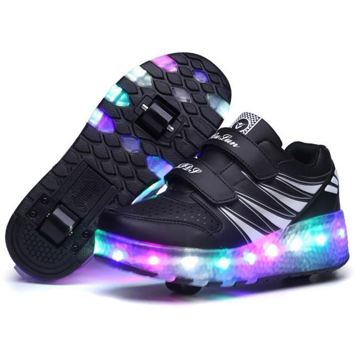 Baskets Enfants LED Chaussures Lumineuse À Roulettes Garçons Filles Sneakers Avec Roues Automatique De Patinage Chaussures Deux Roue