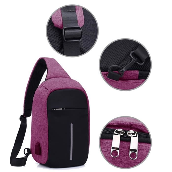 fe88846d1c Sac a bandouliere anti-vol USB Chargeable Unblance Sac a bandouliere Voyage Crossbody  Sac a dos Casual Daypack violet