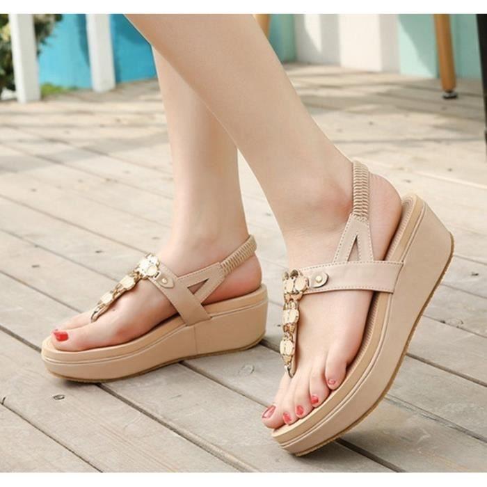 Sandales femme mode nouvelle été Bohème plate-forme plage