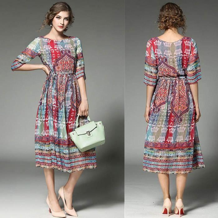 Channy® Femme Robe Bohême Maxi Longue Floral Imprimé Sans Manches Robe de Plage - Rouge