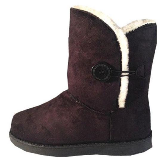 Talon Y915 Fashionfolie888 Chaussure Fourrées Fur Noir Femme Plat Bottine Fille Boots Botte OfnzZvTf
