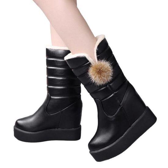 À Bottes Mi Démarrage Bas De Pour Dames bottes Augmenter Ronde Réchauffez Muffin Velours Noir Hiver Tête aUvSwwnTq