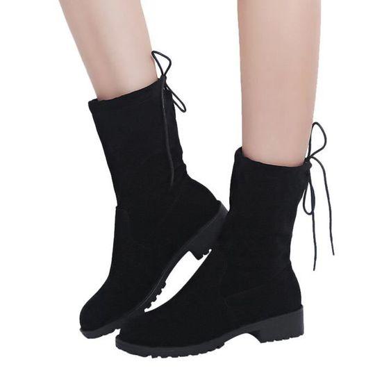 Femmes cheville court bottillons Moyen Tube Suede Martin Bottes Chaussures Bottes à lacets qinhig1000 Noir Noir - Achat / Vente botte