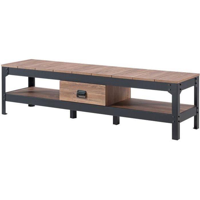 Meuble tv industriel bois metal achat vente pas cher - Meuble bois metal industriel ...