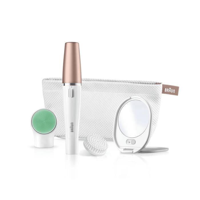 1er épilateur visage au monde avec brosse nettoyante et système revitalisant. Miroir lumineux + pochette.BROSSE ROTATIVE - MICROCIRCULATION - EXFOLIATION