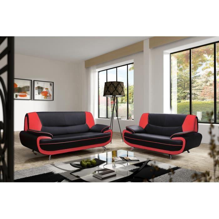 Canape 3 2 Places Design Noir Et Rouge Marita Achat Vente