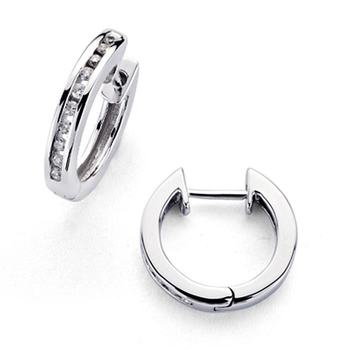 Boucled'oreille 18K anneaux en or blanc diamants étincelants 0,15ct 20 [7368]