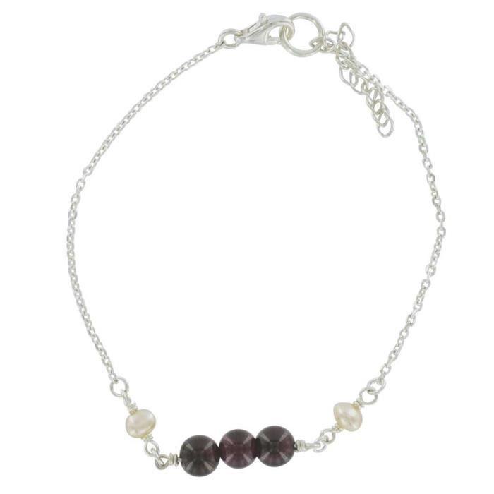 Jouailla - Bracelet perle deau douce grenat, argent 925-1000e