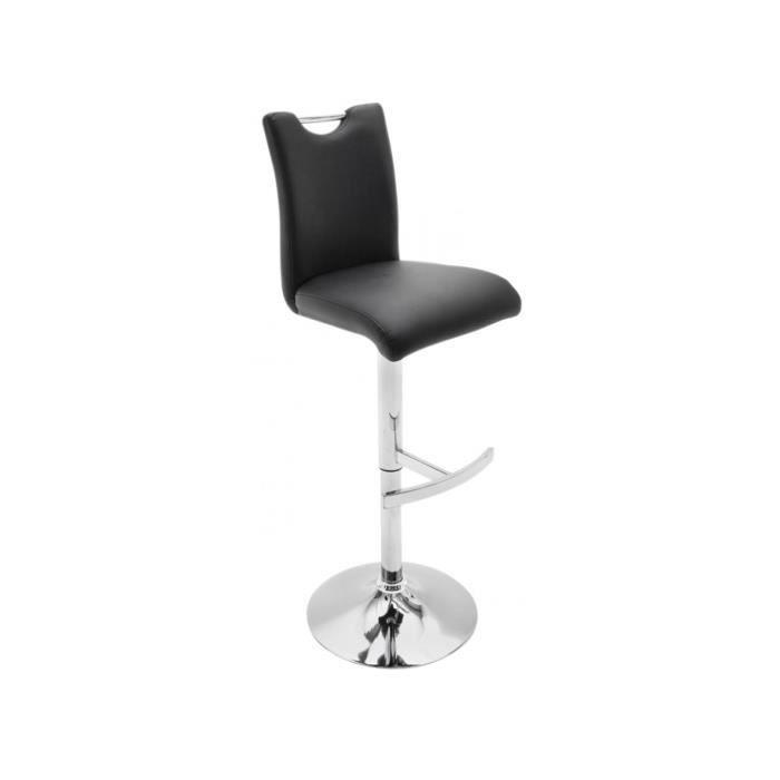 c1448cdd3a3b6a Tabouret de bar noir design en polyester avec piètement rond en acier chromé