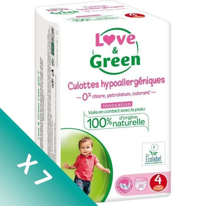COUCHE LOVE AND GREEN Culottes Pack 1 mois T4 7x20 - 140