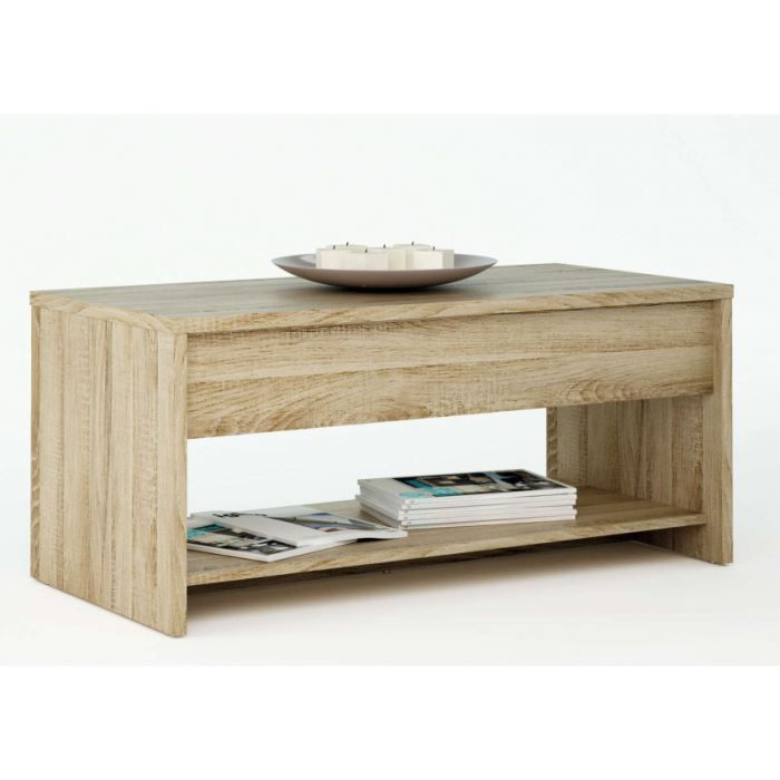 TABLE BASSE TABLE BASSE RELEVABLE COLORIS CHENE BROSSE