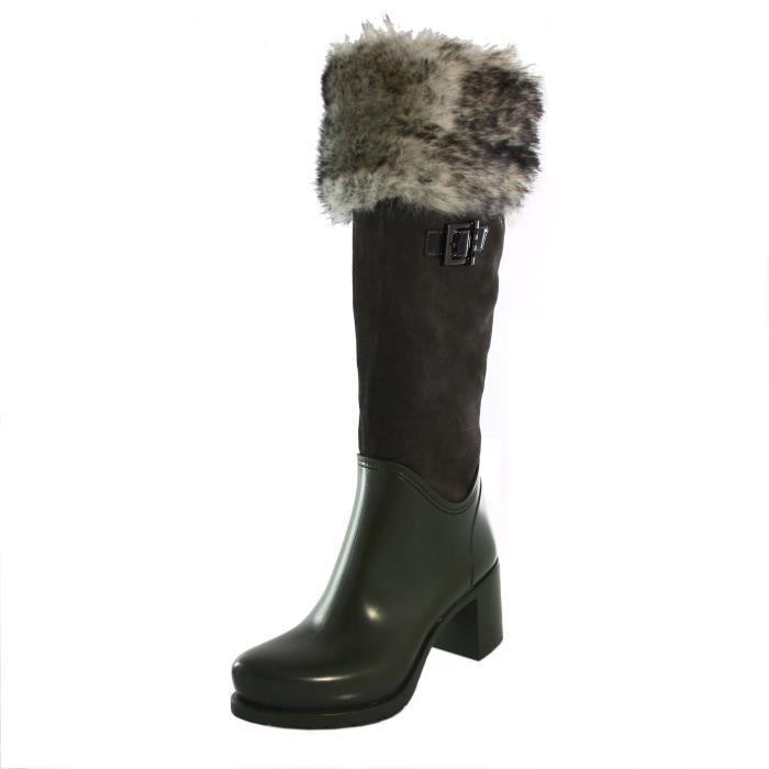 bottes pluie femme gris talons à de rxpOwYq5r