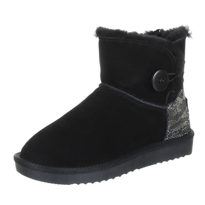 Chaussures femmes bottes chaleureux DOUBLÉ suède Bottine noir SqiUJY0JHC