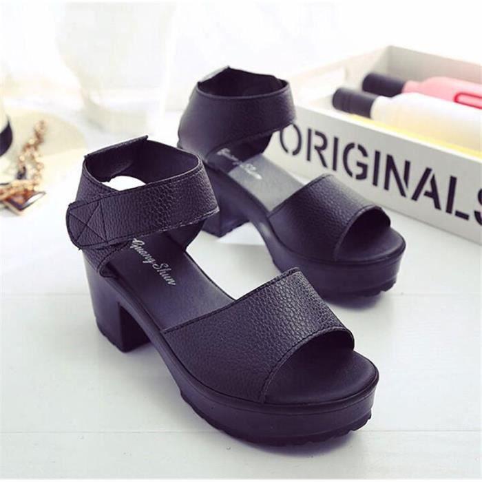 Noir Haut Sandales À Aowqxx Femme Simple Chaussures Talon De Couleur 54ALRj