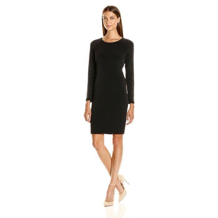 604a86703 Calvin Klein Robe en fourreau pour femmes avec goujons sur manche F1NJS