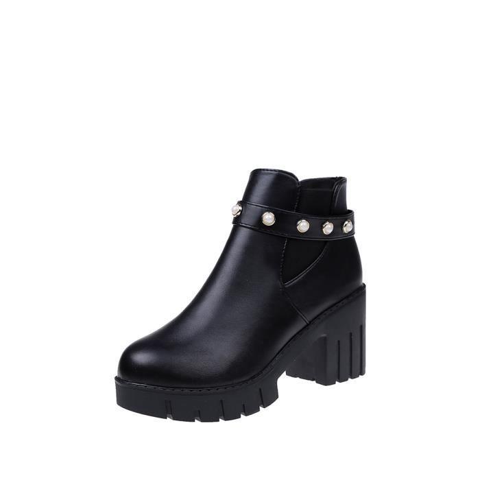 Martin Bottes Place Heel Patchwork Faddish Retro Ladylike Chaussures femme 10210114