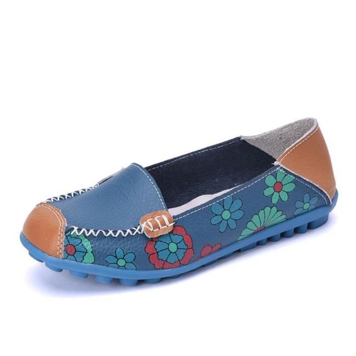 Mocassins Femmes Printemps ete Cuir Chaussures LLT-XZ056Bleu38
