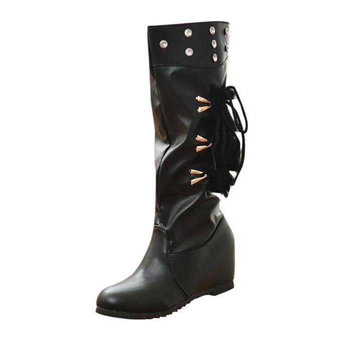 D'hiver Les Bottes Femmes Sur Intensifier Chaud Fourrure Med Glissement De Fausse Noir Compenses En Cuir Chaussures U1BpUqx