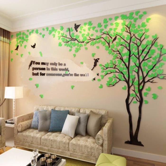 TEMPSA Stickers Muraux 3D DIY Arbre En Vinyle Décoration Vert À Droite M