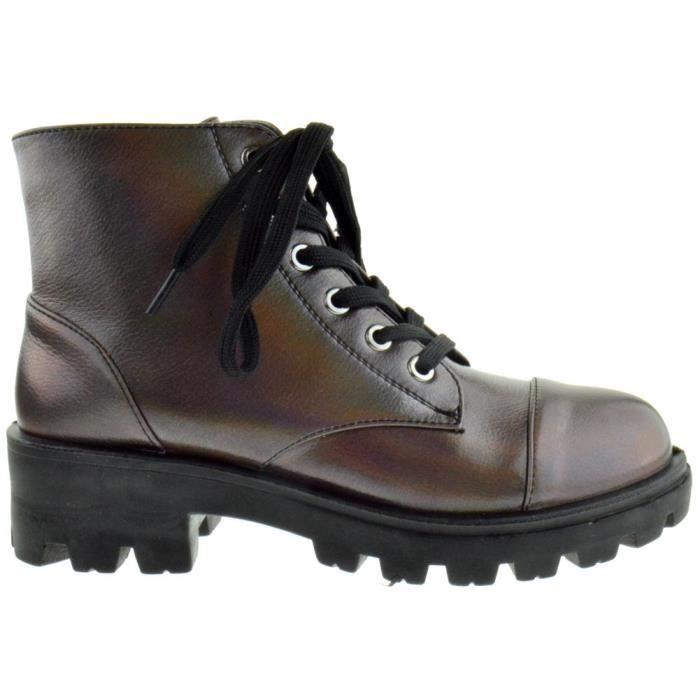 Bamboo Tread 14 Womens Lace Up Combat Boots Q0EGX Taille-37