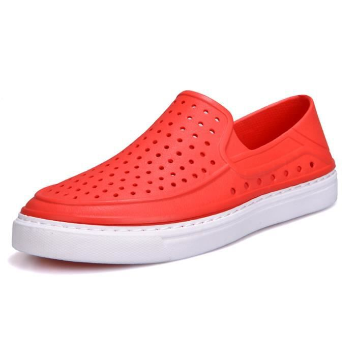 Tongs Pilerty®hommes Unisexe Chaussures Lmh80305554rd Rouge Casual Couple Évider Plage Sandale 0pFrO0n