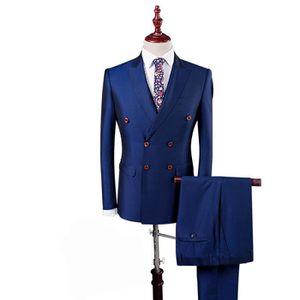 COSTUME - TAILLEUR Costume 3 Pièces Homme Couleur Pure Coupe Slim Cin 545361855f2