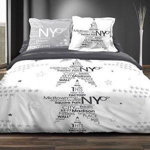 parure de lit new york achat vente pas cher. Black Bedroom Furniture Sets. Home Design Ideas
