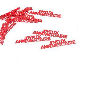 Décors de table Confetti joyeux anniversaire rouge (x15grs) REF/DE
