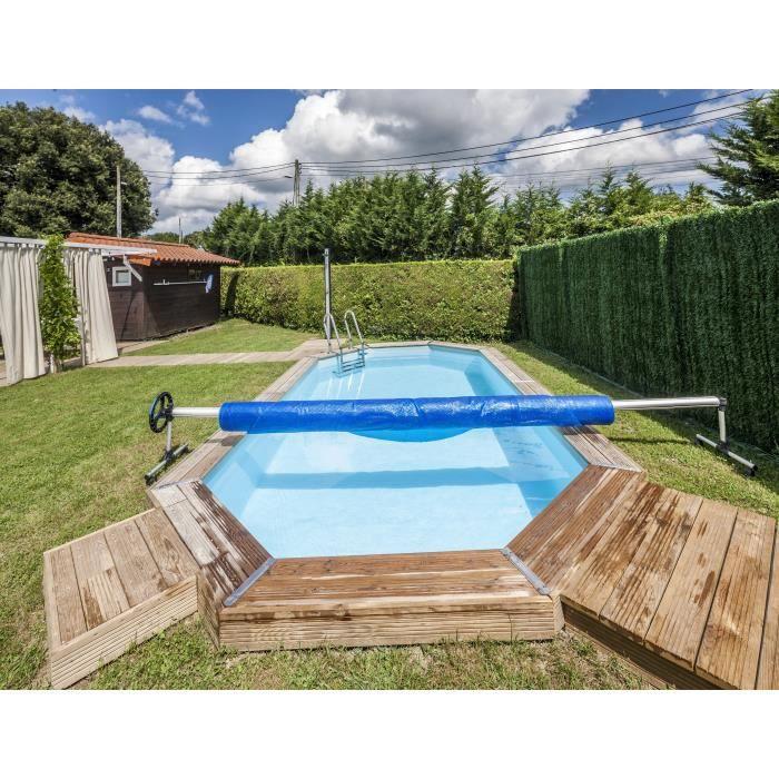 GRE Enrouleur de bâches classique piscine enterrée - 5,5m...