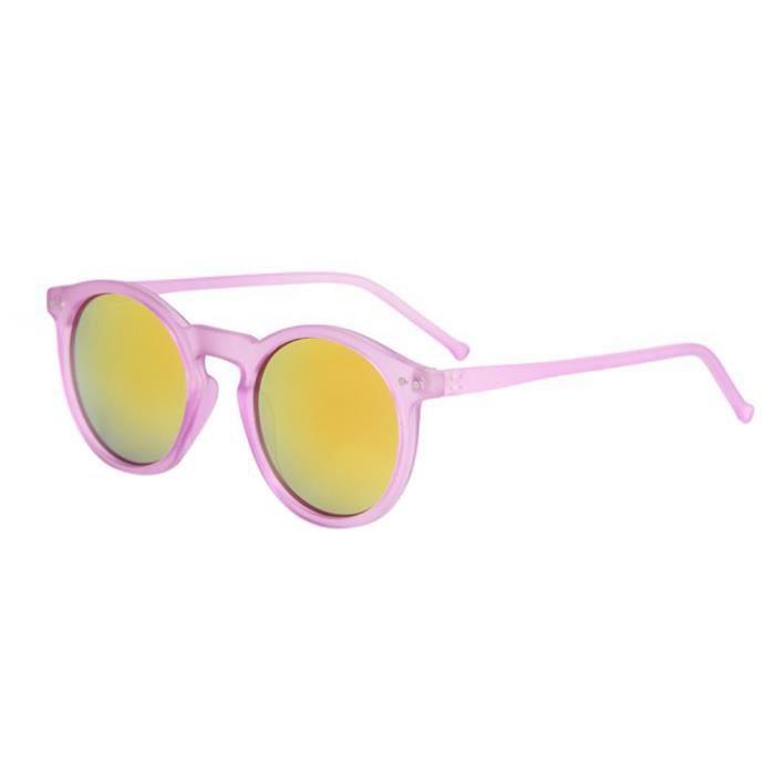 Femmes lunettes de soleil circulaires de mode de lunettes de soleil de la marque Classic Tone Mirror rétro Mercure rouge transparent