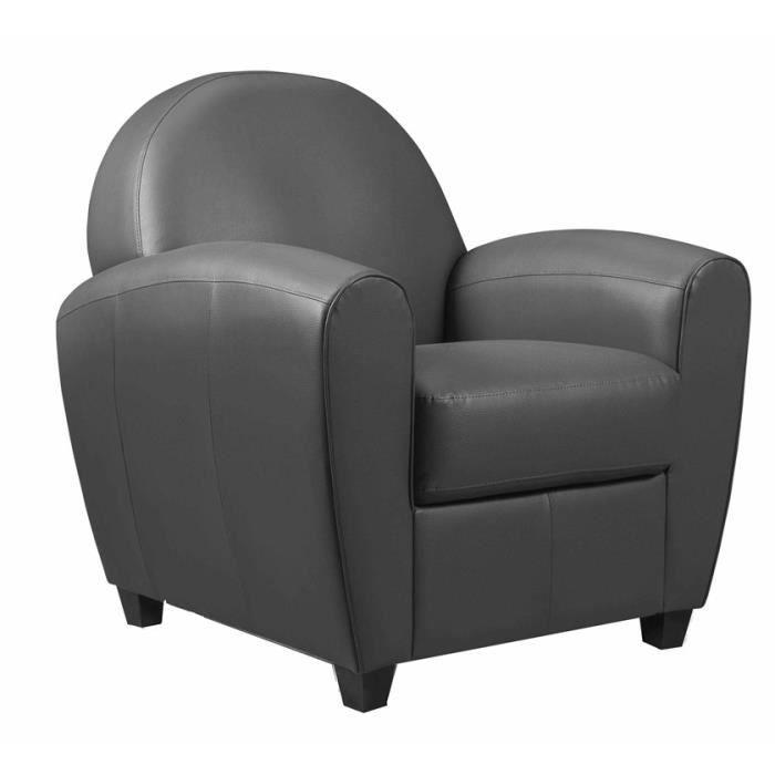 Fauteuil Club gris anthracite Achat Vente fauteuil Gris Cdiscount