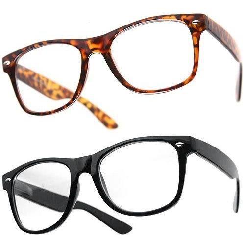 Lot De 2 Paires De Lunettes De Soleil Geek Style 80's Vintage Retro - 1 Modèle Noir + 1 Modèle Ecaille Marron - Verres Noirs - Mixte Pour Homme & Femme - Nouveau vtKuY