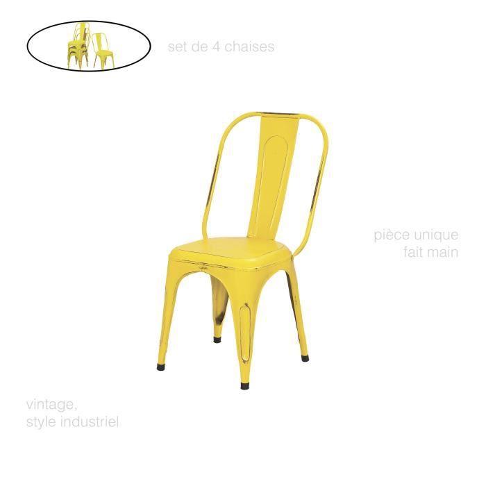 Set De 4 Chaise Metal Couleur Design Vintage Industriel Industrielle En Fer Jaune