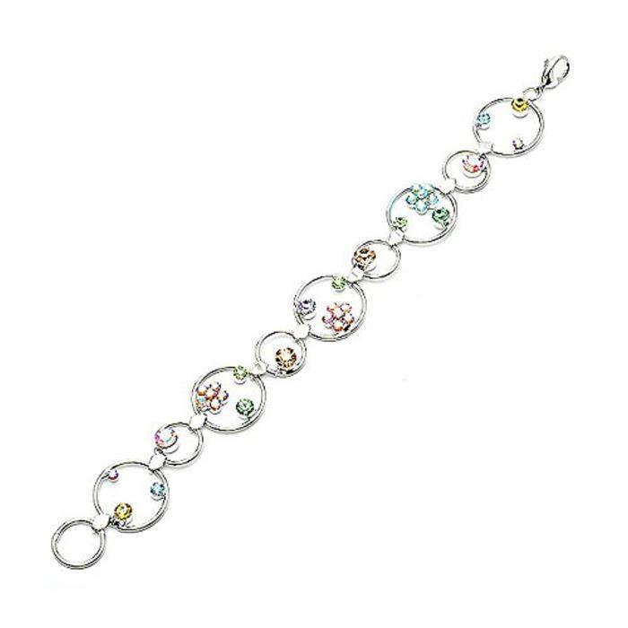 Fleurs Dans Le Cercle Bracelet MultiCouleurs Éléments De Cristaux Autrichien (1045)