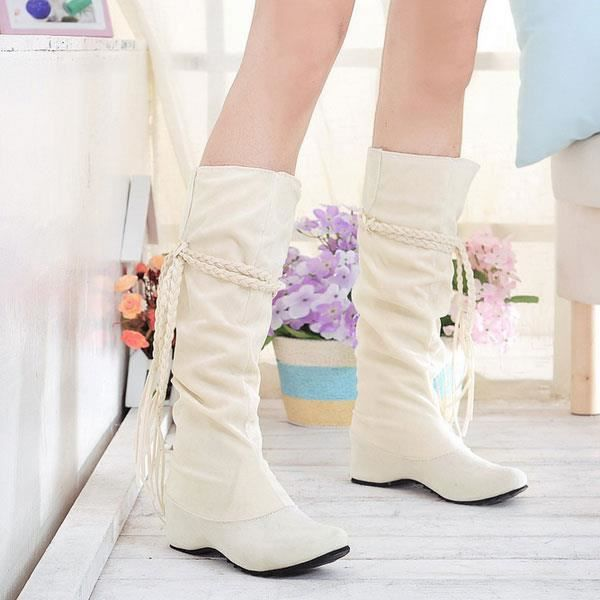 Glands boho femmes plates bottes de neige bout rond suede et hiver sur le genou cuissardes bottes beige