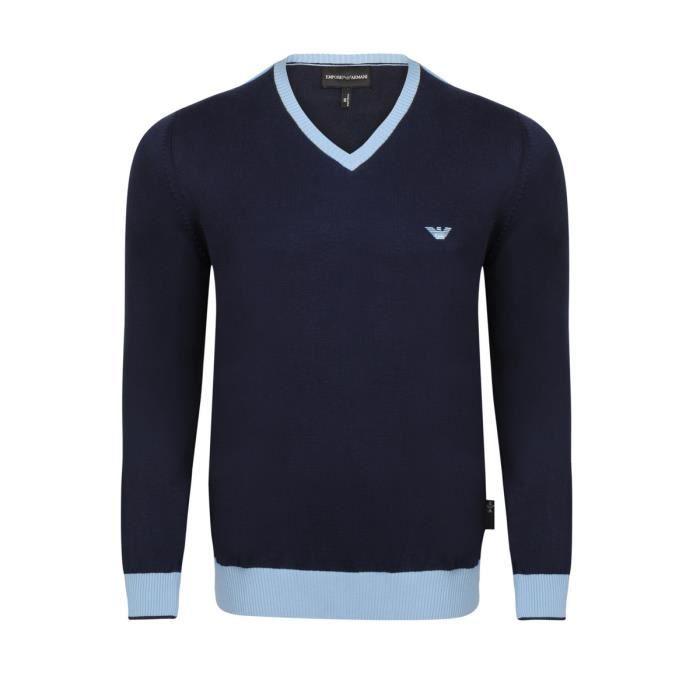 EMPORIO ARMANI Pull Col V - Homme - Bleu marine Bleu marine - Achat ... 45973923fba