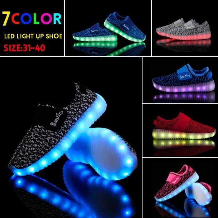 chaussure multisport pour Mixtenoir 35 7 LED couleur Light Up Chaussures Enfants LED Light Up Chaussures clignotantes _4322