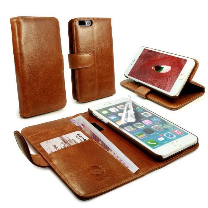 Tui housse style portefeuille en cuir vintage pour iphone for Housse iphone 7 plus cuir