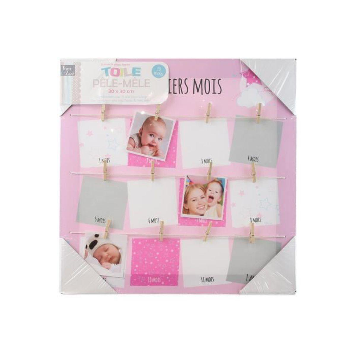 Amante Toile photo pêle-mêle bébé - Mes 12 premiers mois - Modèle FILLE #ZU_43