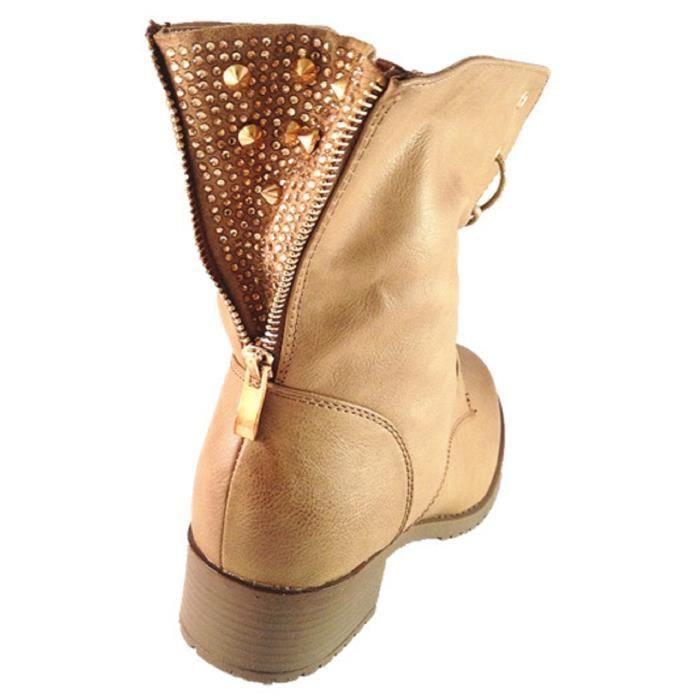 Fashionfolie888 - Bottine femme Chaussure Fourré Fourrure clouté clou boots cloutées C066 TAUPE AuJYp