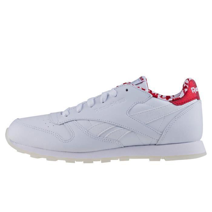 Reebok Classic Leather Hearts Garçon Baskets Blanc rouge - 5 UK