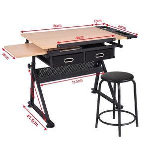 ... TIROIR DE BUREAU Table à dessin inclinable avec tabouret multifonct. ‹› 77351e4ce4d6